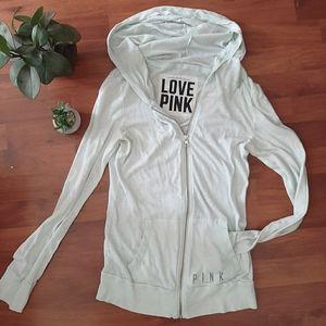 PINK lightweight tissue zip up hoodie mint size s